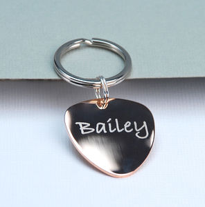 Personalised Music Lover Plectrum Keyring - 18th birthday gifts