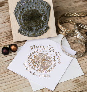 Christmas Card Stamp With Fox - cards
