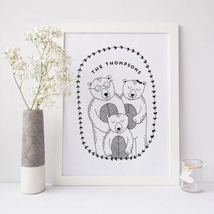 Personalised Bear Family Portrait Print