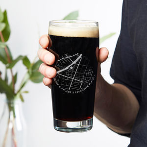Any Map Etched Beer Glass - gifts for him