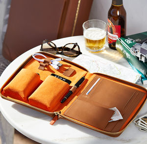 Personalised Luxury Leather Travel Tech Case For Him - for him