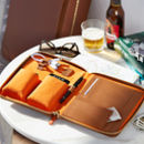 Personalised Luxury Leather Travel Tech Case For Him