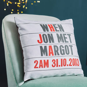 Personalised Cinema Marquee Faux Suede Cushion - gifts for couples