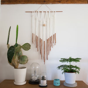 Rose Gold Dipped Macrame Wall Hanging - safari trend