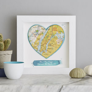 Personalised Watercolour Map Location Anniversary Heart - canvas prints & art