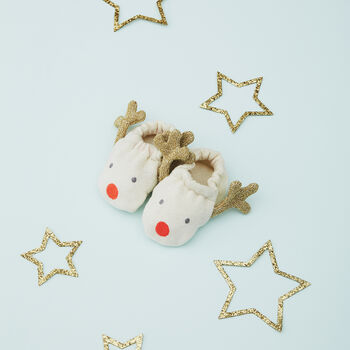 Christmas Organic Cotton Reindeer Baby Booties