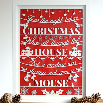 Paper Cut 'Night Before Christmas' Framed Laser Print