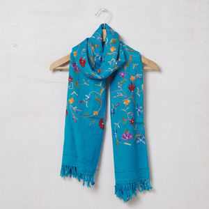 Pure Pashmina Wool Embroidered Scarf