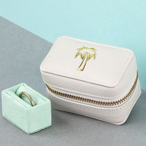 Luxury Leather Ring Box With Travel Motif - jewellery storage & trinket boxes