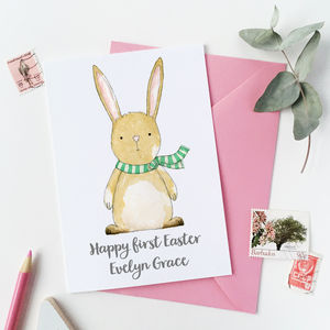 Personalised First Easter Baby Rabbit Card - baby's first easter