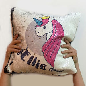 Sequin Reveal Christmas Unicorn Cushion