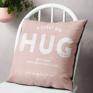 'A Great Big Hug From Me To You' Personalised Cushion