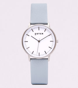 New Collection Silver Vegan Leather Watch