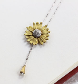 Sterling Silver Daisy Drop Pendant