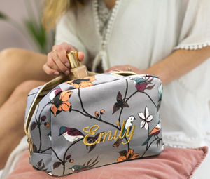 Personalised Tropical Bird Wash Bag In Soft Blue