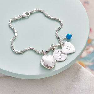 Birthstone Bracelet With Tiny Heart Locket - bracelets & bangles