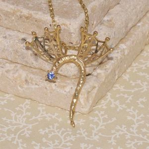 Gold Dragon With Lattice Wings And Blue Sapphire - necklaces & pendants