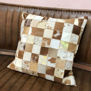 Contemporary Cowhide Cushion With Gold Foil Detail