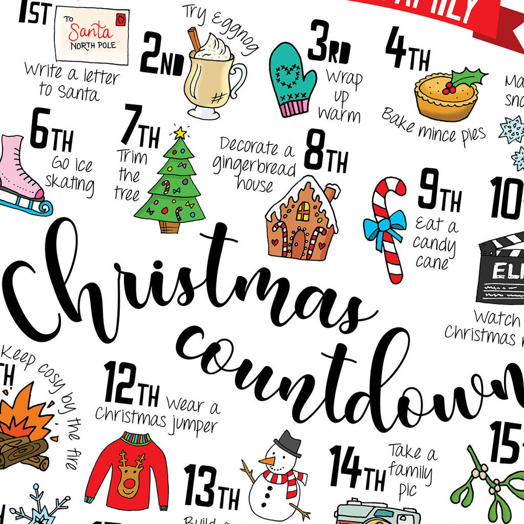 Christmas Countdown Calendar.Personalised Christmas Advent Calendar Print