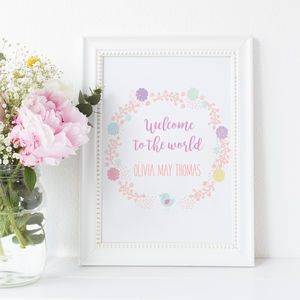 Welcome To The World New Baby Print For Nursery