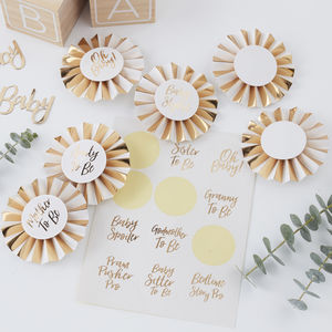 White And Gold Oh Baby Baby Shower Party Badge Kit