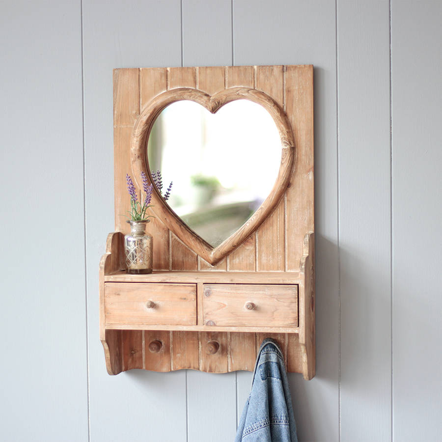 Wooden Heart Wall Mirror With Drawers By Dibor