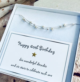 60th Birthday Solid Sterling Silver Six Star Bracelet