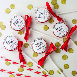 Hand Tied Save The Date Lollipops - wedding favours
