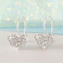 Interwoven Mesh Heart Silver Hook Earrings