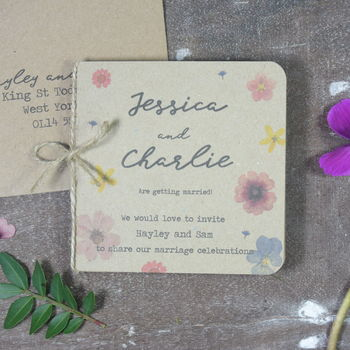 Pressed Flower Folded Wedding Invitation