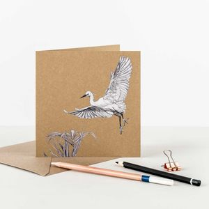 Little Egret Recycled Greetings Card