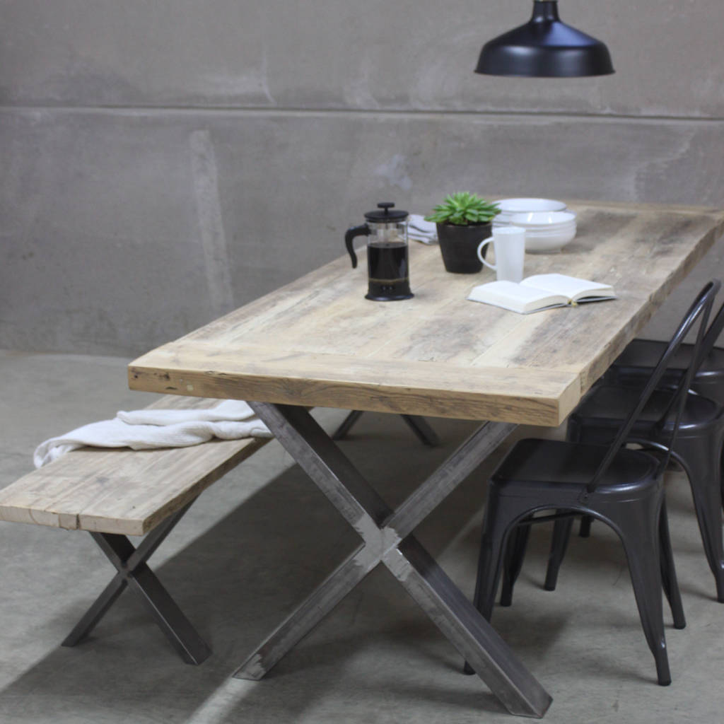 Xavier Reclaimed Wood Dining Table With Steel X Frame By Rust - Cheap reclaimed wood dining table