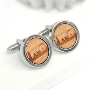 Wooden London Skyline Cufflinks - best personalised corporate gifts