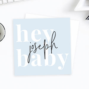 Personalised Hey Baby New Baby Card - new baby cards