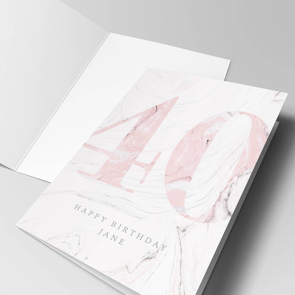 Personalised 'Pink Marble' Age Birthday Card
