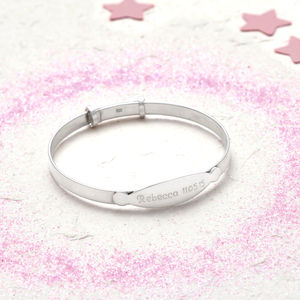 Sterling Silver Personalised Christening Bangle - bracelets