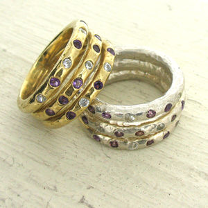 Gold Diamond And Gemstone Three Band Ring - birthstone jewellery gifts