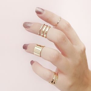 Gold Tube Midi Ring Set Of Five