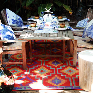 Lhasa Outdoor Rug In Red And Violet - rugs & doormats