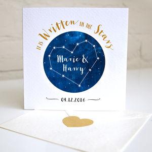 Personalised Written In The Stars Wedding Card