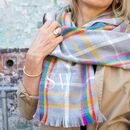Personalised Embroidered Rainbow Tartan Blanket Scarf