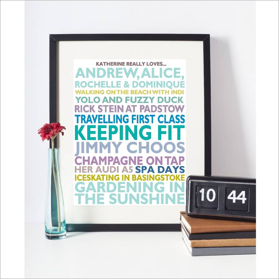 Personalised 'Favourite Things' Framed Print