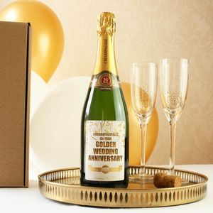 50th Golden Wedding Anniversary Champagne - 50th anniversary: gold