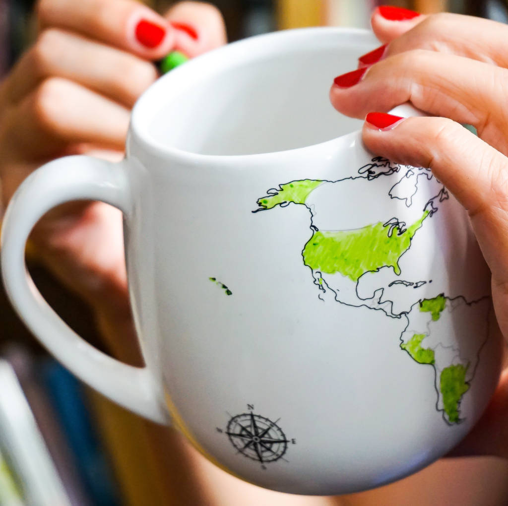 Trouvaille World Mug with colouring map and