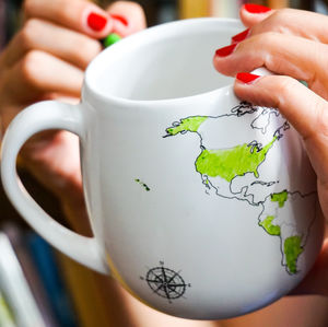 World Map Colour In Mug - gifts for teenagers