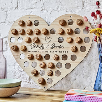 Personalised Heart Shape Cork Collector For Couples