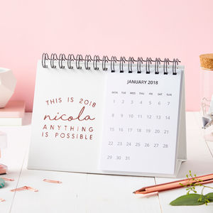 Personalised 'This Is 2018' Desk Calendar - diaries, stationery & books