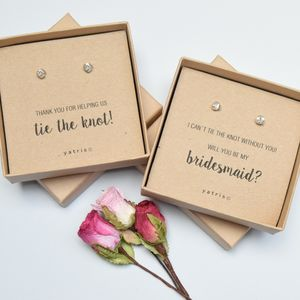'Tie The Knot' Bridesmaid Silver Earring Gift - earrings