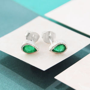 Emerald May Birthstone Silver Studs Earrings