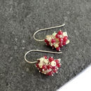 Ethiopian Opal And Ruby Earrings In Silver